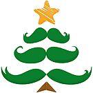 Merry Christmas Mustache Tree by Silvia Neto