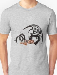 Sleeping Beauty Girl with Dragon Cartoon Drawing Unisex T-Shirt