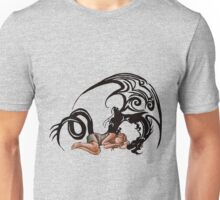 Sleeping Beauty Girl with Dragon Cartoon Drawing Unisex T-Shirt