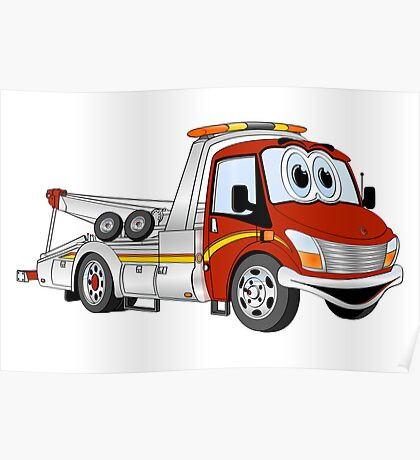 Cartoon Red and Silver Wrecker Tow Truck Poster