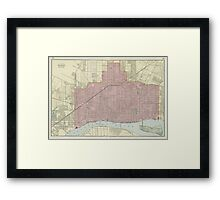 Vintage Map of Detroit Michigan (1901) Framed Print