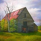 Red Roofed Barn in Georgia, Hwy 53 by Vivian Eagleson