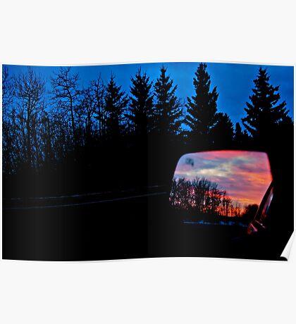 Sun Rising in my Rear View - Alberta Canada Poster