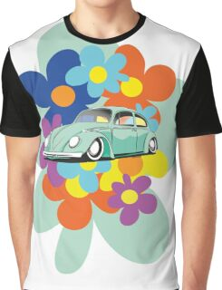 VW Beetle Flower Bug Graphic T-Shirt