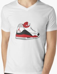 Fire Red 3's Mens V-Neck T-Shirt
