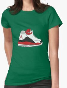 Fire Red 3's Womens Fitted T-Shirt