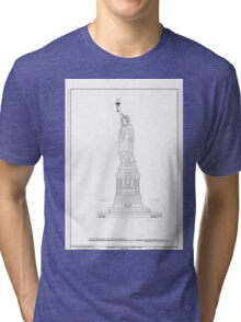 Statue of Liberty Blueprint  Tri-blend T-Shirt