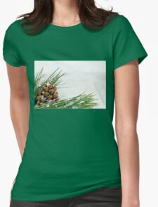 Fir Cone and Branch with Snow Flakes Womens Fitted T-Shirt