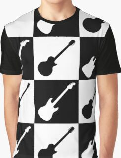 Electric Guitar Checkerboard Graphic T-Shirt