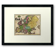 Vintage Map of Europe (1842) Framed Print