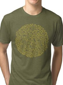 Hide The Spill - Brown and Yellow MTB Pedals Tri-blend T-Shirt