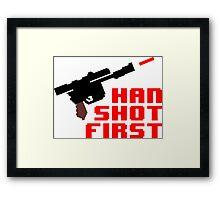 8-bit Han shot first Framed Print