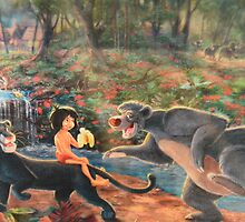 Story Book Jungle Book Animal Characters Baloo Bear Mowgli  by notheothereye
