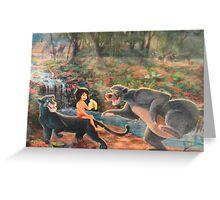 Story Book Jungle Book Animal Characters Baloo Bear Mowgli  Greeting Card