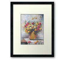 Natureza Morta - Jarro de Rosas -  Óleo sobre tele / Still Life - Pitcher of Roses - oil on canvas Framed Print