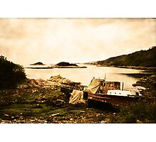 Derelict boat in Outer Hebrides Photographic Print