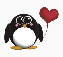 Adorable Penguin Heart Balloon One Piece - Short Sleeve