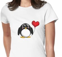 Adorable Penguin Heart Balloon Womens Fitted T-Shirt