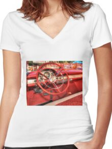 1956 Ford Interior Women's Fitted V-Neck T-Shirt