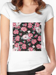 Cute hand drawn floral faux gold glitter drops pattern Women's Fitted Scoop T-Shirt