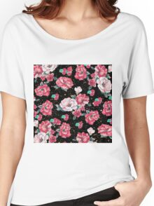 Cute hand drawn floral faux gold glitter drops pattern Women's Relaxed Fit T-Shirt