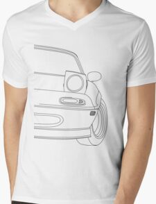 miata outline - black Mens V-Neck T-Shirt