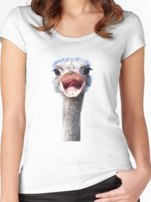 Goofy ostrich Women's Fitted Scoop T-Shirt