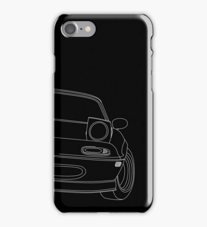 miata outline - white iPhone Case/Skin