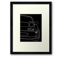 miata outline - white Framed Print