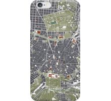 Madrid city map engraving iPhone Case/Skin