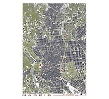 Madrid city map engraving Photographic Print