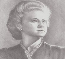 Mary Jean, c. 1943 (graphite portrait) by Pam Humbargar