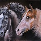 Portrait of two Stallions by Felicity Deverell