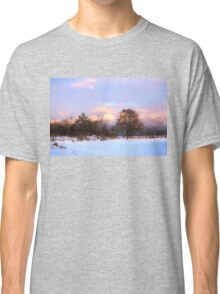 Watercolor Winter - Colorful Day on the Lake Classic T-Shirt