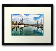 Yachts and Palm Trees - Impressions of Barcelona  Framed Print