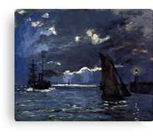 A Seascape Shipping by Moonlight - Claude Monet Canvas Print