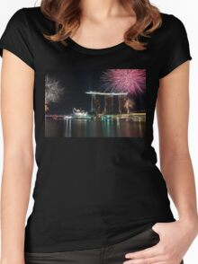 Fireworks at Marina Bay Singapore Women's Fitted Scoop T-Shirt