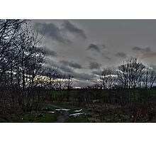 Litter on Country Path at Sunset Photographic Print