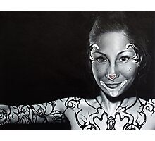 Orignal realistic portrait / figurative  painting of a woman with body art and tattoos Photographic Print