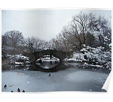 Bridge Over Lake, Snow-Covered Central Park  Poster