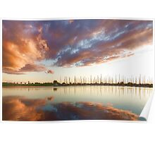 Reflecting on Yachts and Clouds - Lake Ontario Impressions Poster