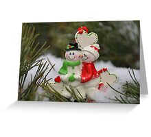 Cute couple with Santa costumes kissing and hugging on Christmas 2 Greeting Card