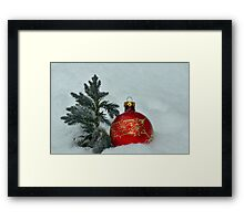 New Year's toy a red ball with mini fur-tree  Framed Print