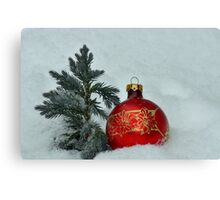 New Year's toy a red ball with mini fur-tree  Canvas Print