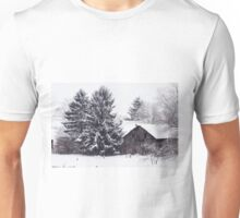 Redreaming Wood Barn in Snow Unisex T-Shirt