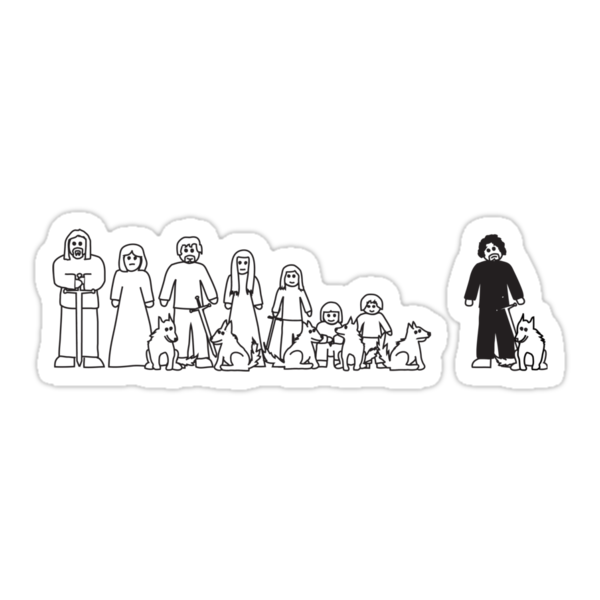 Stark Family Vehicle Sticker (Game of Thrones Shirt) by IG-HateyHate