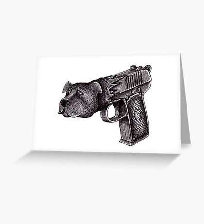 Pit Bull Gun surreal black and white pen ink drawing  Greeting Card