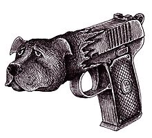 Pit Bull Gun surreal black and white pen ink drawing  Photographic Print