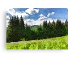 Impressions of Mountains and Meadows and Trees Canvas Print