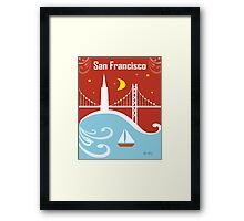San Francisco, California - Skyline Illustration by Loose Petals Framed Print